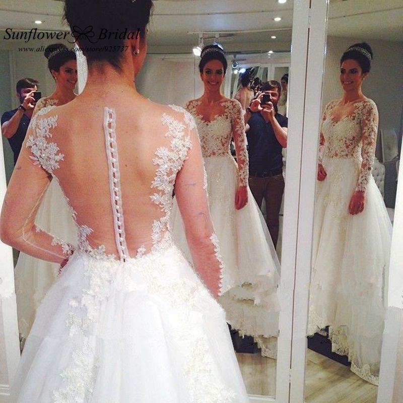 Find More Wedding Dresses Information About Romantic Hot Backless With Long Sleeves Lace