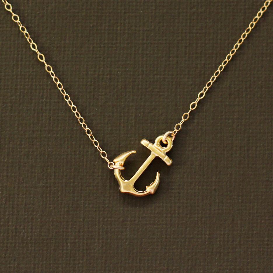 Gold anchor necklace 14k gold filled chain anchor necklace gold gold anchor necklace 14k gold filled chain aloadofball Images