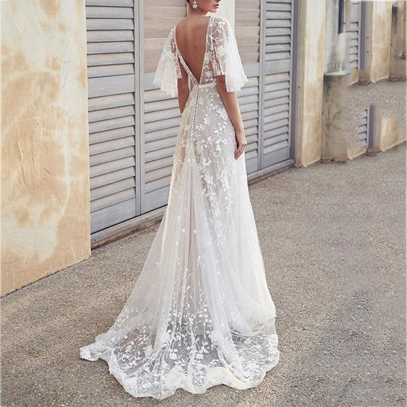 Lace V-Neck Halter Dress In 2019