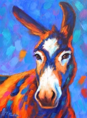 Donkey Painting In Bright Colors By Theresa Paden Artist