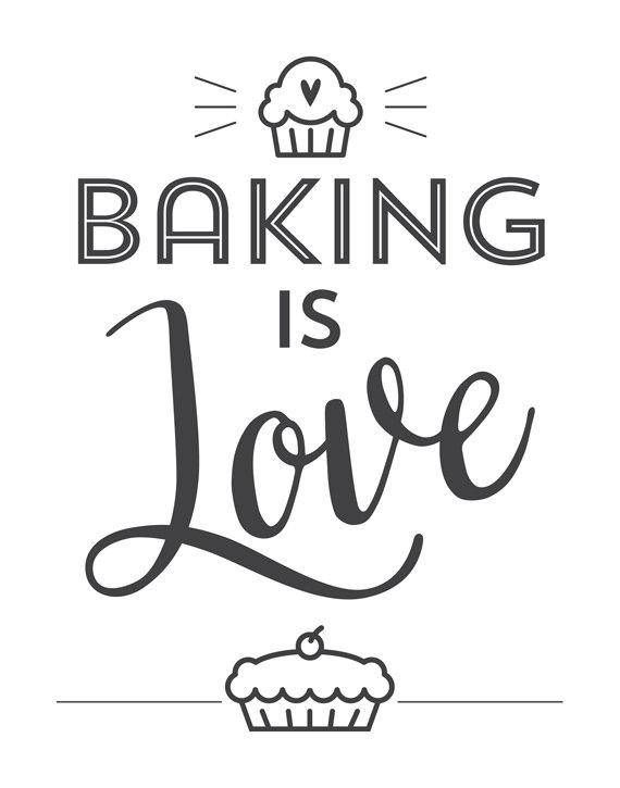 baker kitchen print baking is love black and white modern minimal wall decor bake quote on kitchen quotes printable id=22491