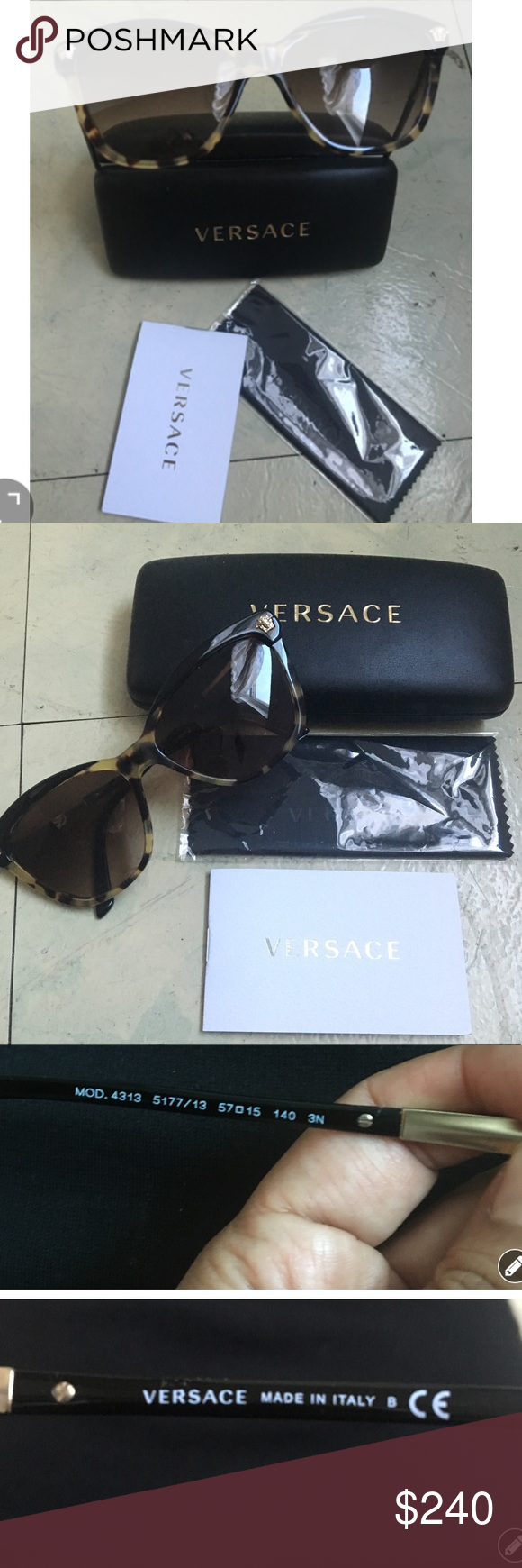 d4401270efaf8 ✨VERSACE AUTHENTIC SUNGLASSES ✨ New Versace VE 4313 5177 13 Butterfly  Sunglasses Black Havana Brown Gradient Lens. Available with a case and a  cloth ...