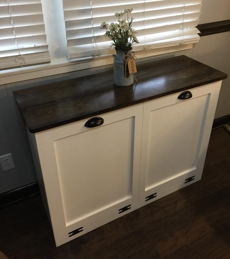 Double Trash Bin Tilt Out Door Wood Trash Recycle Etsy In 2020 Trash And Recycling Bin Recycling Bins Kitchen Shaker Style Doors