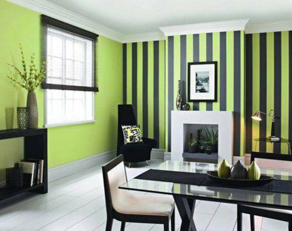 Kombinationen Schwarz Wandfarben Hellgrün Streifen Esszimmer
