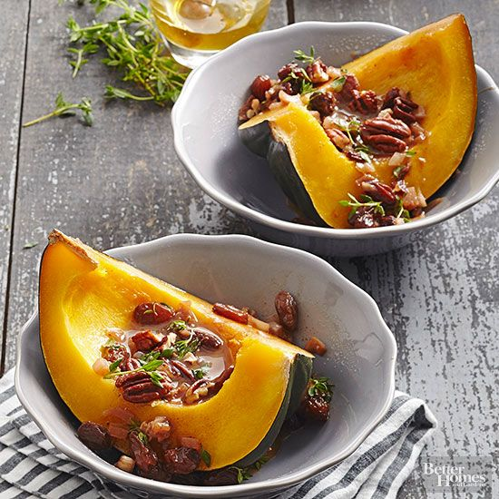 Winter wouldn't be complete without a warm helping of sweet acorn squash. Slow-cook the vegetable with raisins and apple pie spice then serve with a sticky topping of honey, vanilla, and pecans./