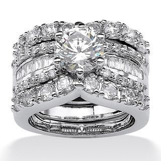 Ultimate CZ Platinum over Silver Cubic Zirconia Wedding Ring Set | Overstock.com