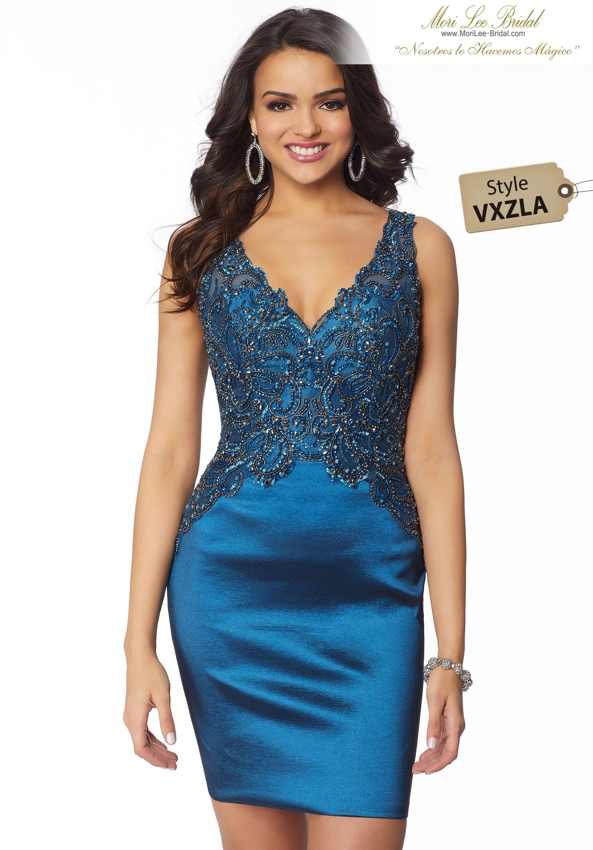 Estilo VXZLA Stretch Taffeta Party Dress with Beaded Net V-Neck Bodice  Colors  Navy 8ef18e142e