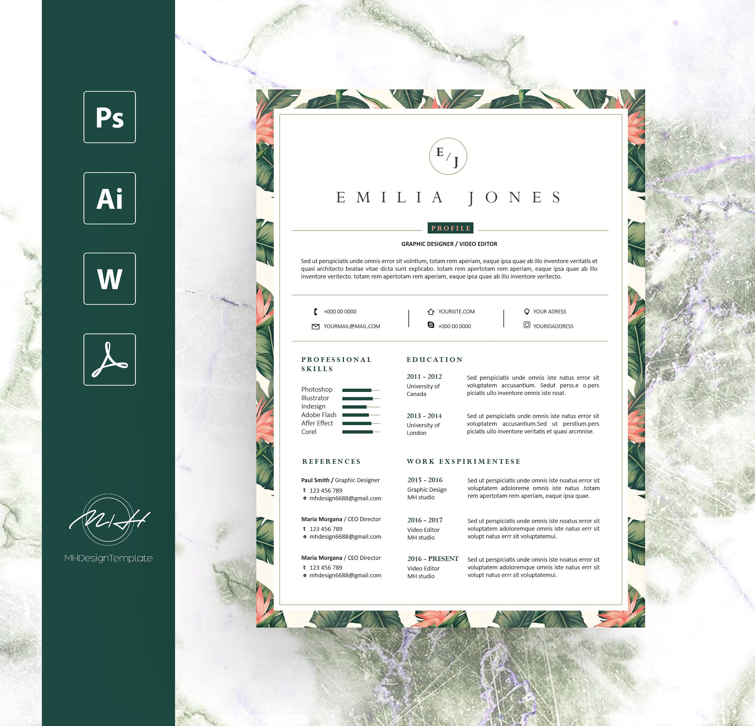 leaf floral resume template by mh design template on  creativemarket
