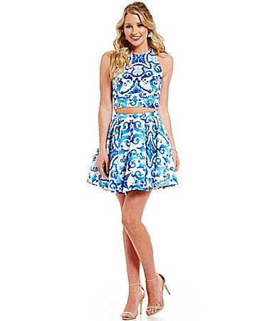 e095fbf2f9d Glamour by Terani Couture Scroll Print TwoPiece Dress  Dillards ...