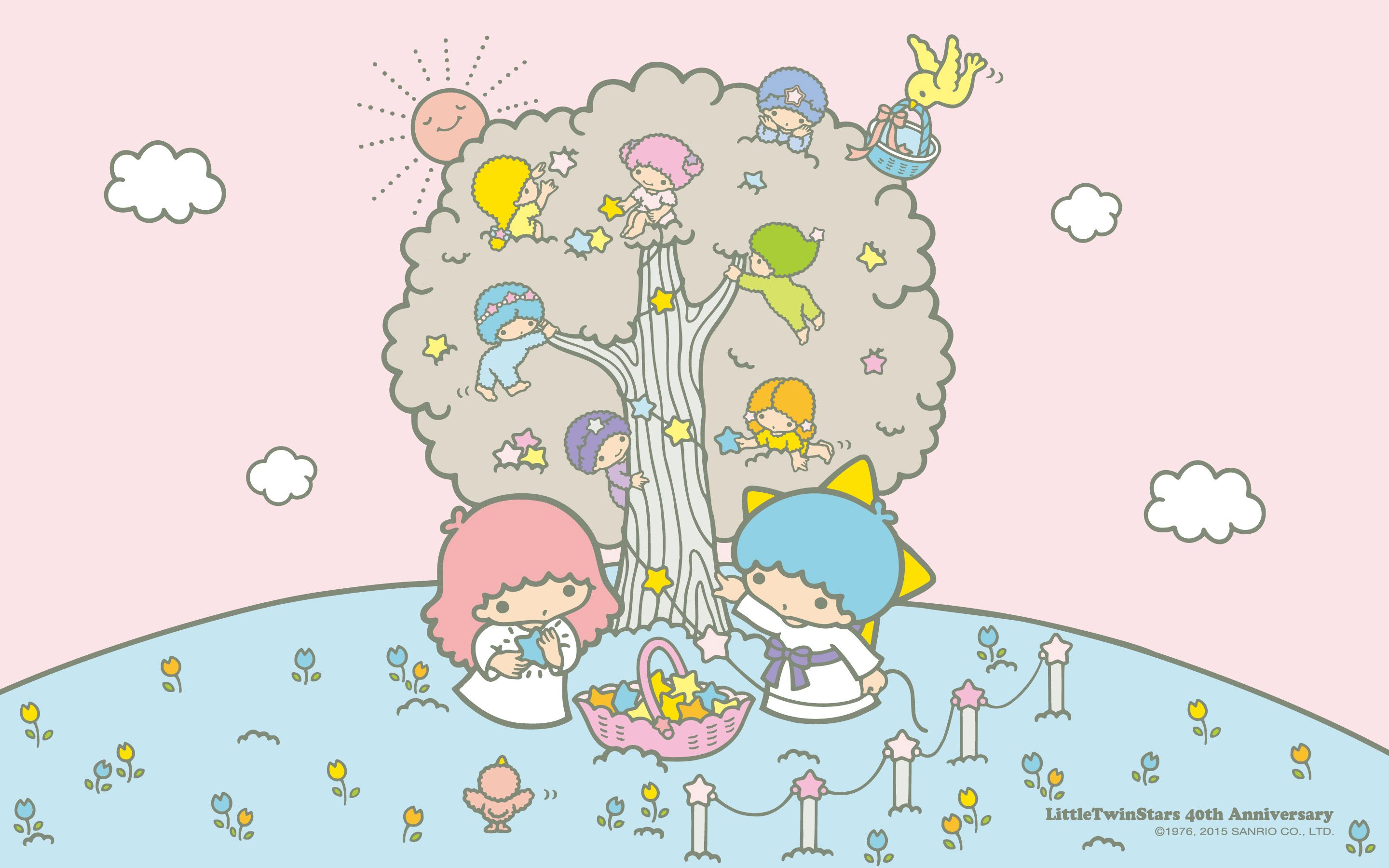 【Android iPhone PC】Little Twin Stars Wallpaper 201503 三月桌布