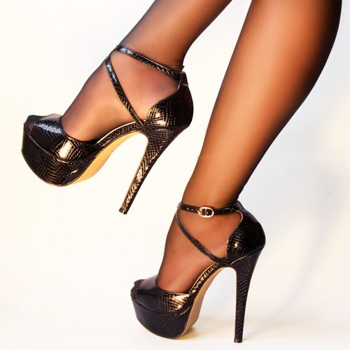 691c8e99120a Dress Me  Shoe Designs. ZriEy Cross-Strap Peep-Toe Stilettos Black Crocodile  PU