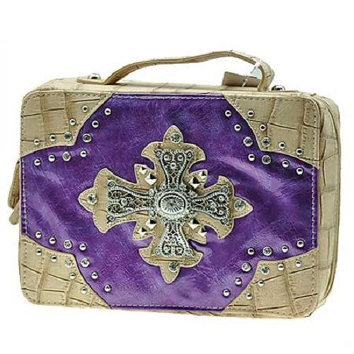 bling bible covers photos | PURPLE RHINESTONE CROSS WESTERN BIBLE BOOK COVER CASE