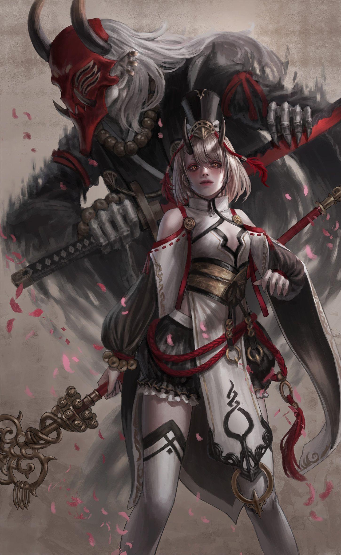 ArtStation Oni Shaman, Gold can Oni, Oni mask, Samurai