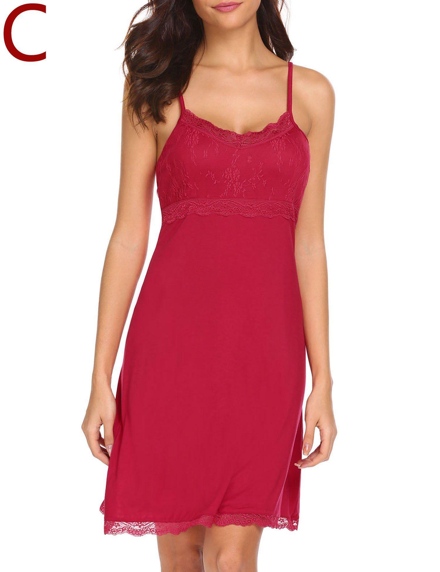 MAXMODA Womens Full Slip Sleepwear Nightshirts Lace Trim Slip Chemise Nightgown Under Dresses S-XXL