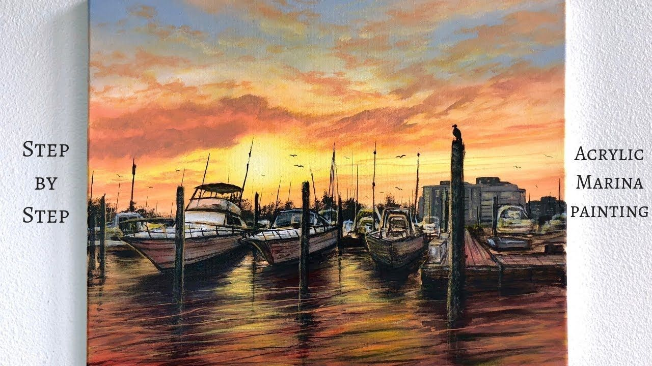 Boat marina step by step acrylic painting colorbyfeliks