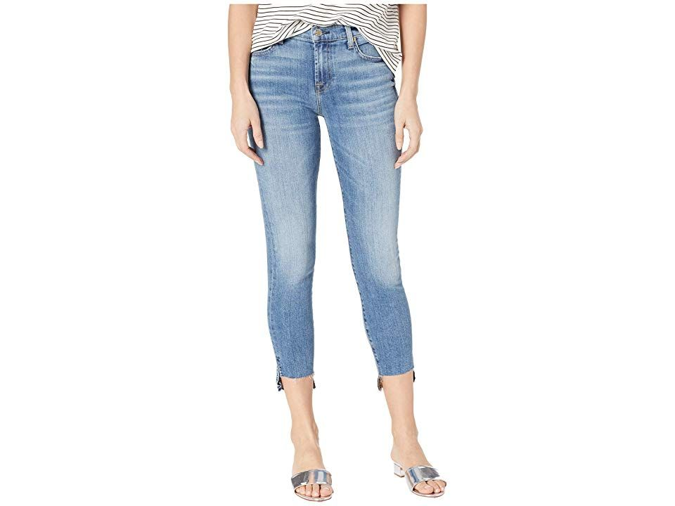 7 For All Mankind Ankle Skinny Step Hem In Pretty Vintage Blue
