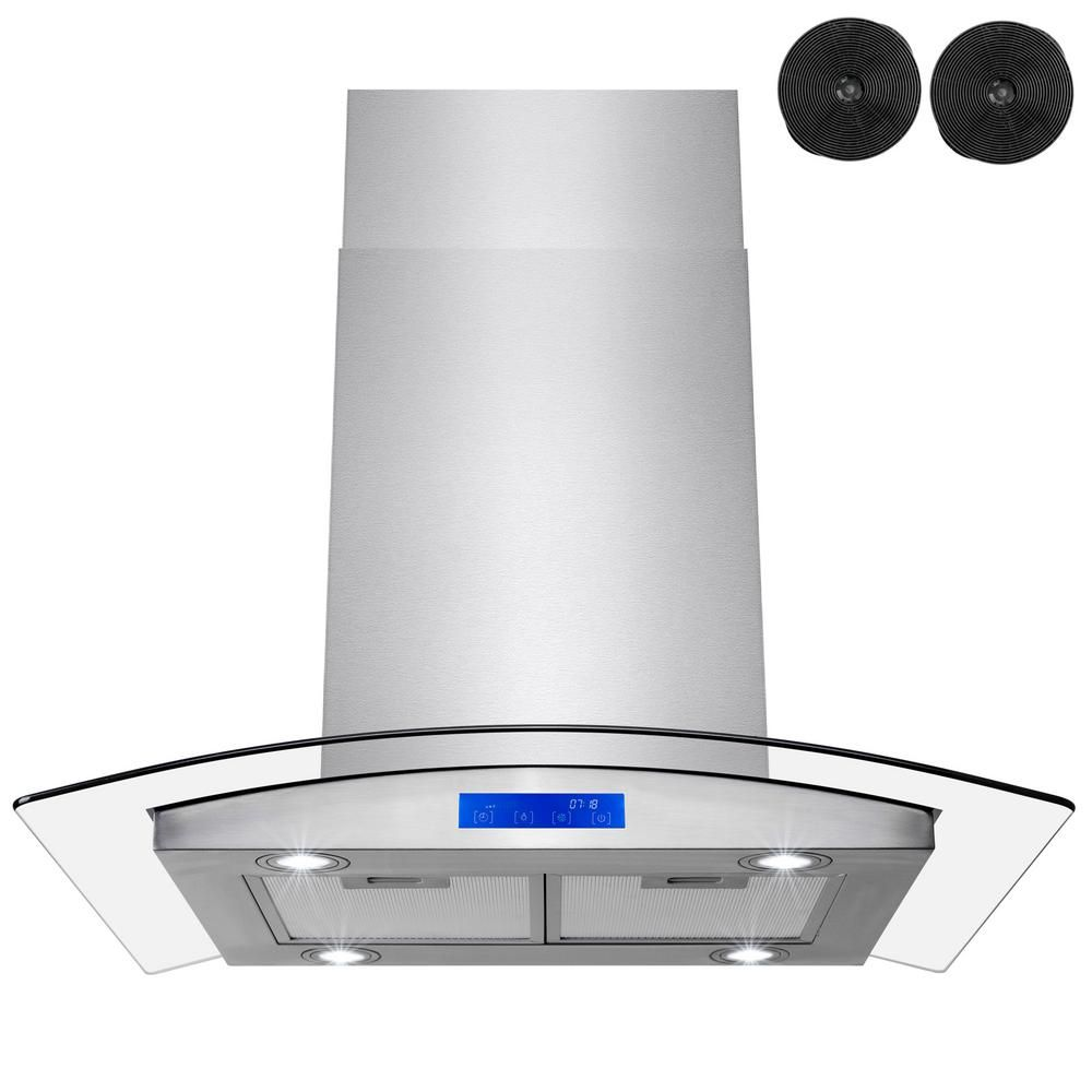 Golden Vantage 30 in. 343 CFM Convertible Island Mount Range Hood in Stainless Steel with LEDs, Touch Panel and Carbon Filters-RH0412 - The Home Depot