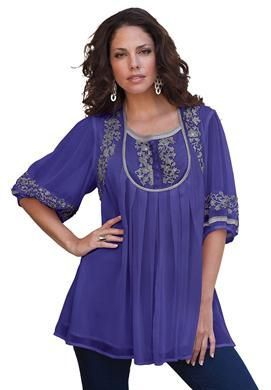 86c9fdbfae650 Mirielle Embellished Tunic by Denim 24/7 | Plus Size Shirts & Blouses |  Roamans
