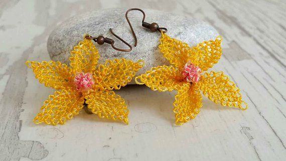 YELLOW FLOWER EARRINGS,christmas gift ideas, handmade earrİngs , Anatolian earrigs,Turkish crochet earrings , Gift For Mom Holiday #christmasgiftsforboyfriend