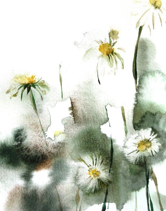 Daisy Flowers Watercolor Painting Art Print, Floral Abstract Green Modern Wall Art, Watercolour Art
