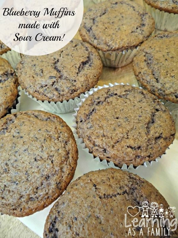 Blueberry Muffin Recipe With Sour Cream Learning As A Family Muffin Recipes Blueberry Sour Cream Recipes Breakfast Donuts