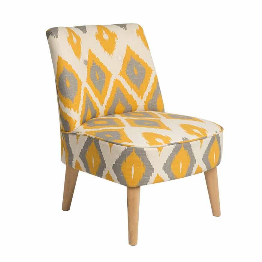 fauteuil tissu cru motifs losanges jaunes et gris pieds bois clair harry par kaligrafik. Black Bedroom Furniture Sets. Home Design Ideas
