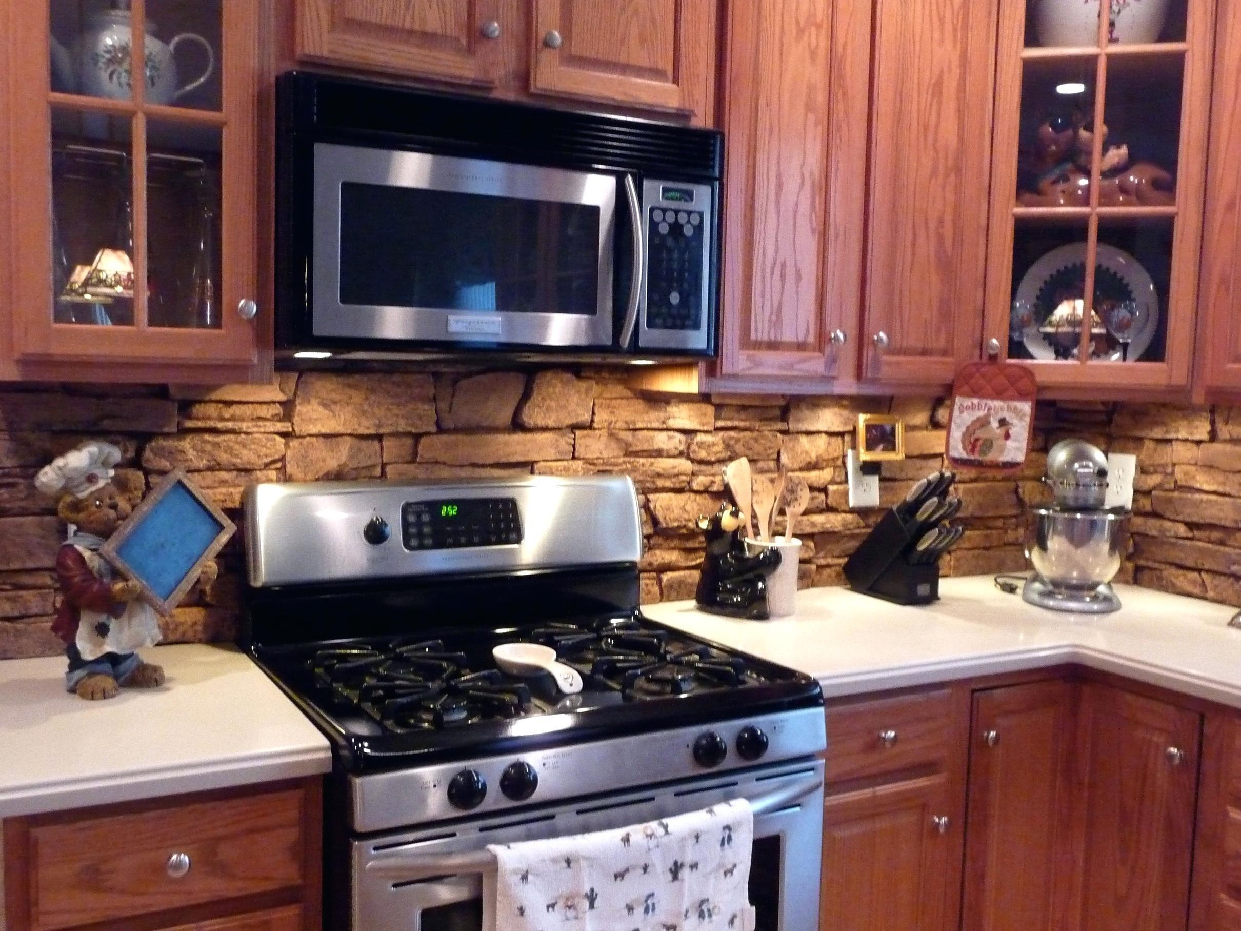Rock backsplash tiles lowes kitchen contemporary tile