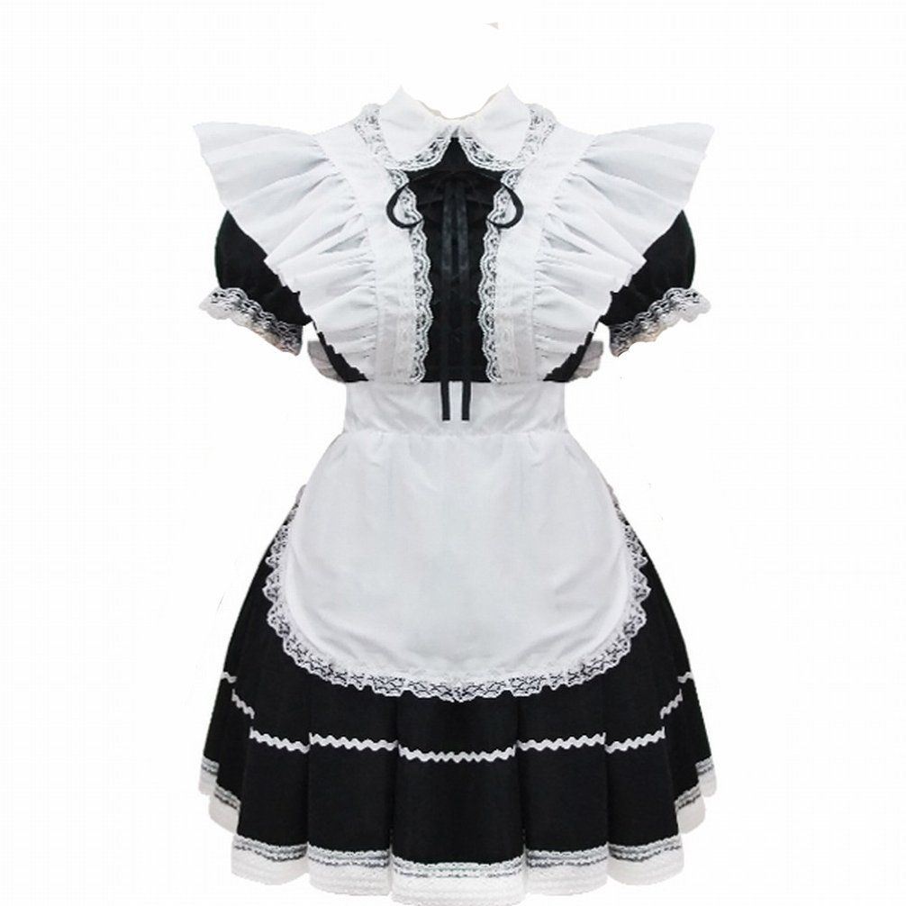 Anime Wig Cosplay Costume Flouncing Black And White Maid Costume L