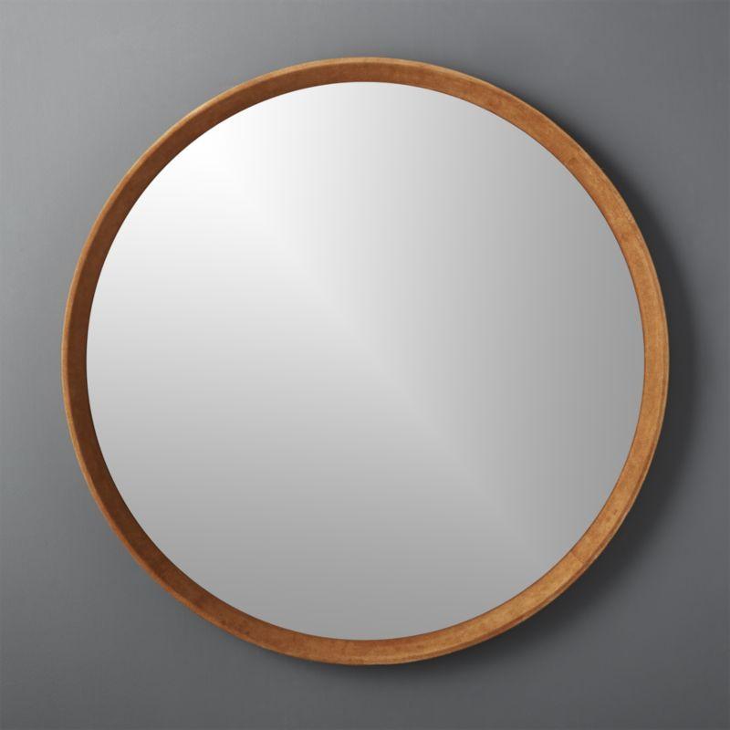 Bowery Suede Mirror 40 Round, 40 Round Mirror