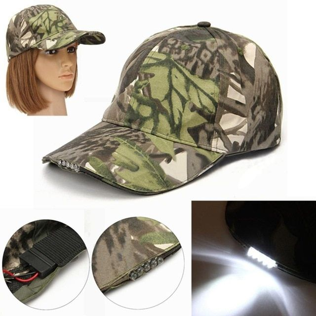 cfebaf0a19e Camouflage 5 LED Light Hiking Cap for Outdoor Tactical Camping Fishing  Adjustable Strap for Women Men Vintage Camo Hat Review