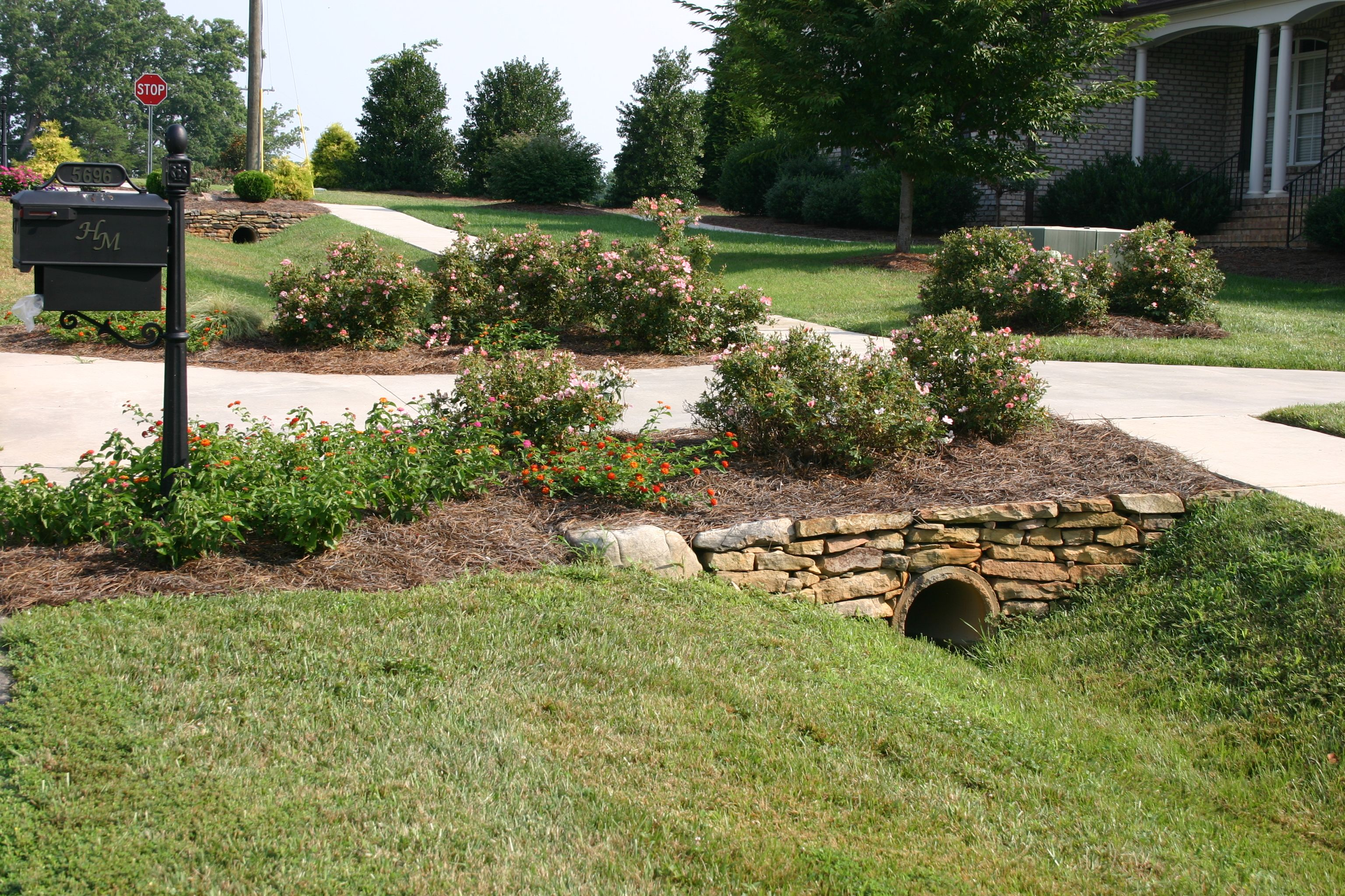 Landscaping End Of Driveway Field Stones And