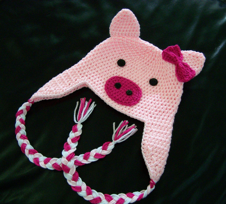 Crochet Pig Hat | crochet love | Pinterest | Gorros, Gorros de bebe ...