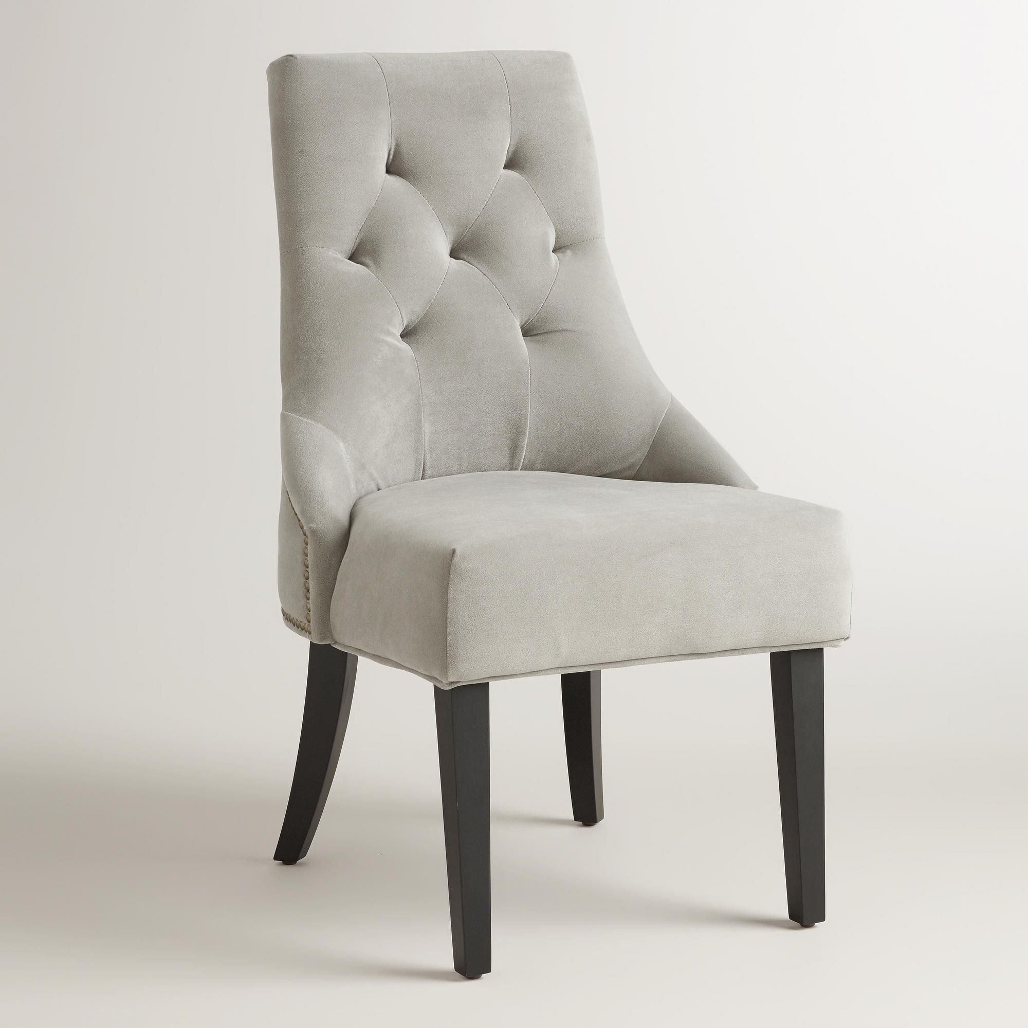 Dove Gray Tufted Lydia Dining Chairs Set Of 2