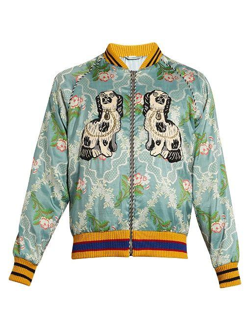 8fbd0f4d00b Gucci Spaniel and bee appliqué jacquard bomber jacket