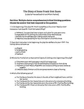 the diary of anne frank test questions plus bonus essay  diary of anne frank unit exam test the play multiple choice comprehensive  see more of my english products on teacherspayteachers