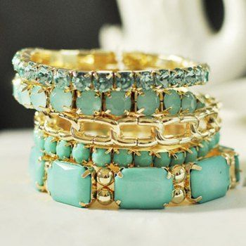 5PCS of Exquisite Bead and Rhinestone Embellished Bracelets For Women -- to add in to stacks