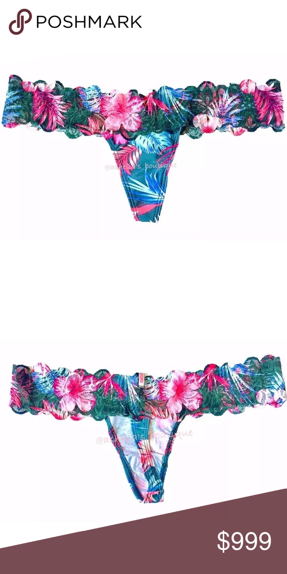56014f9f38 NEW~ PINK VS Tropical Floral Lace Thong Panty VICTORIA S SECRET PINK Floral  Lace Trim Thong Condition  New in packaging Product Details  ~Teal  Hibiscus~ ...