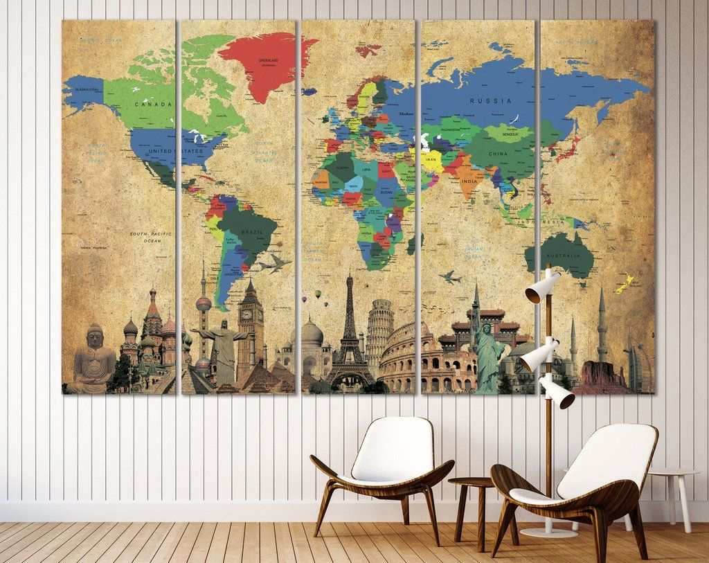 Brown World Map №3027 | Wrapped canvas, Brown and Walls