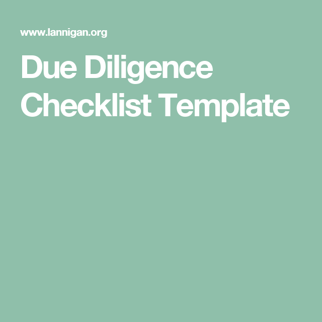 Due Diligence Checklist Template  Work Related    Template