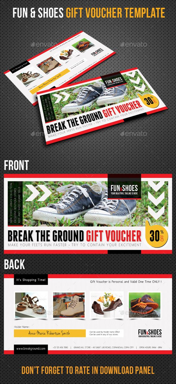Fun And Shoes Gift Voucher V03 Gift Vouchers Font Logo And Fonts