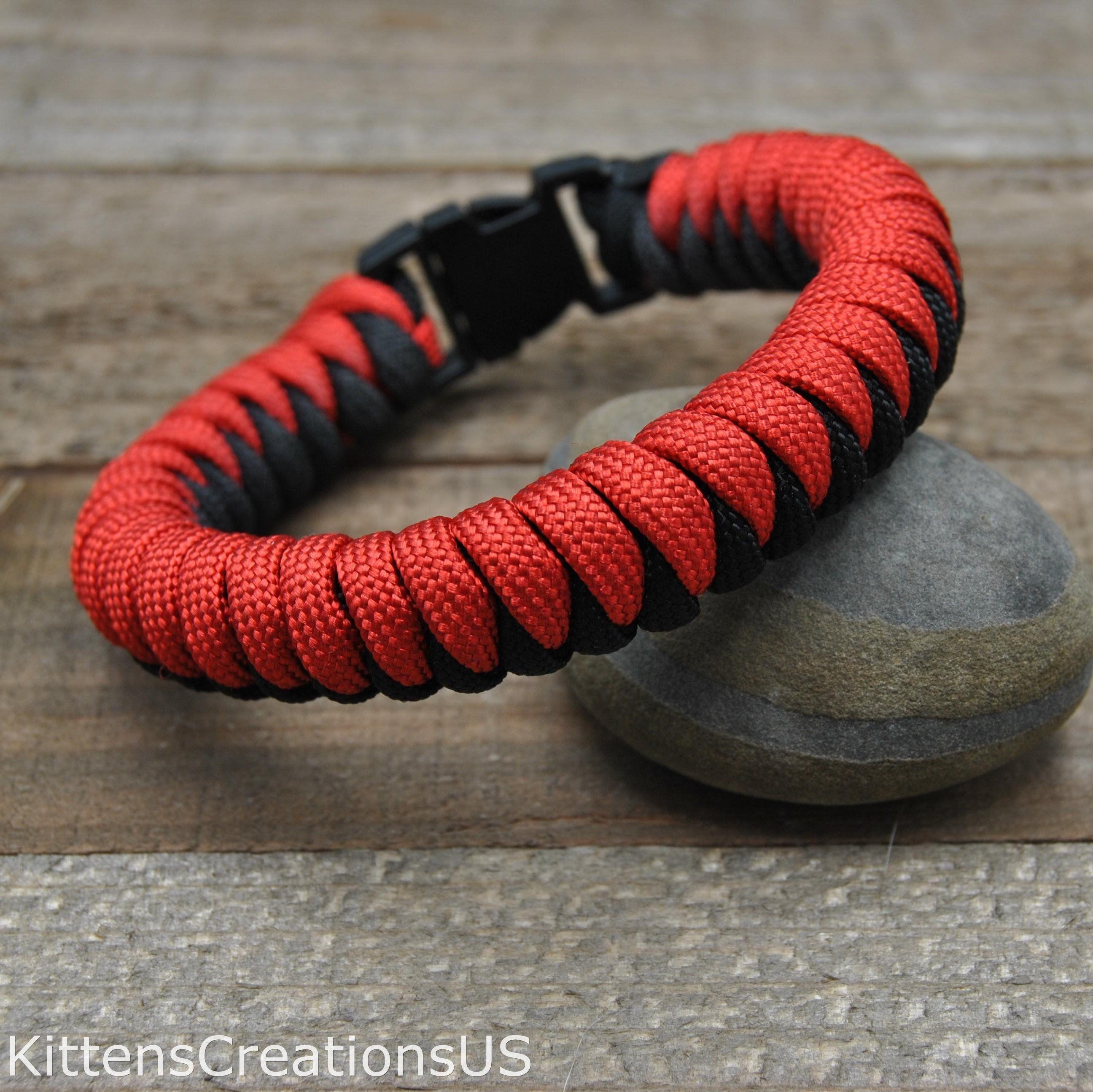 Red And Black Snake Knot Paracord Bracelet Item 408 Snake Knot