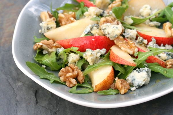 Pear, Blue Cheese and Walnut Salad. Be sure to get quality blue cheese. Serving this for book club. I could just drink the dressing. So yummy!