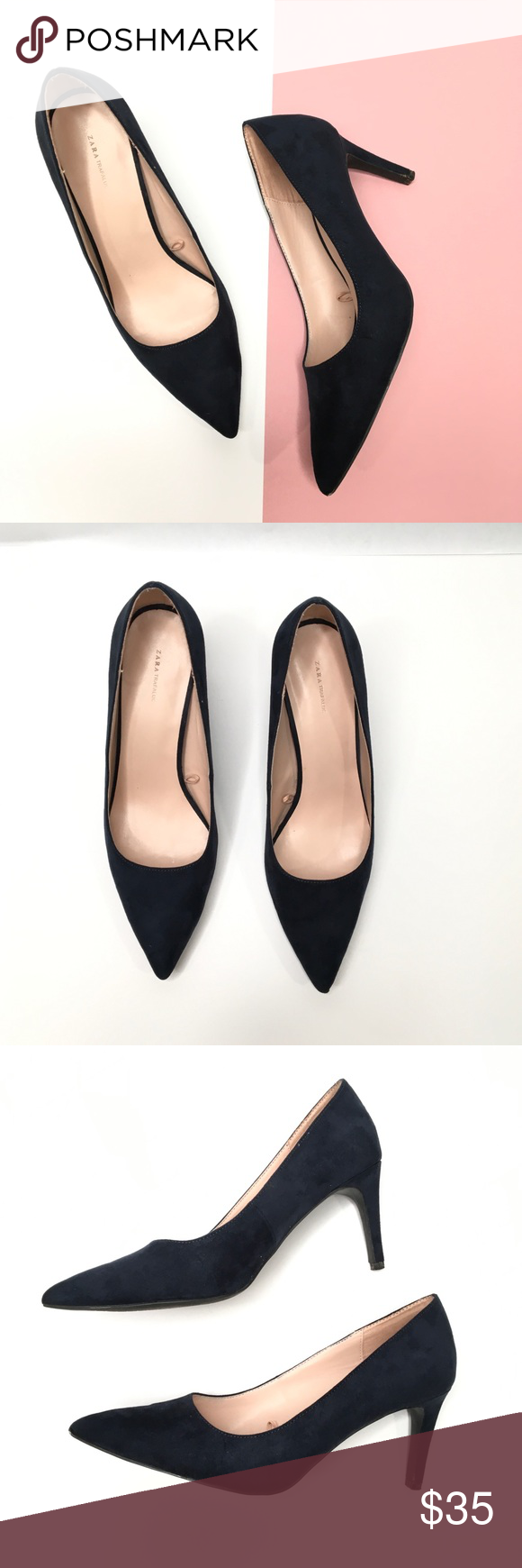 0a1da04387d Zara Trafaluc Navy Suede Pointed Toe Pumps Excellent used condition ...