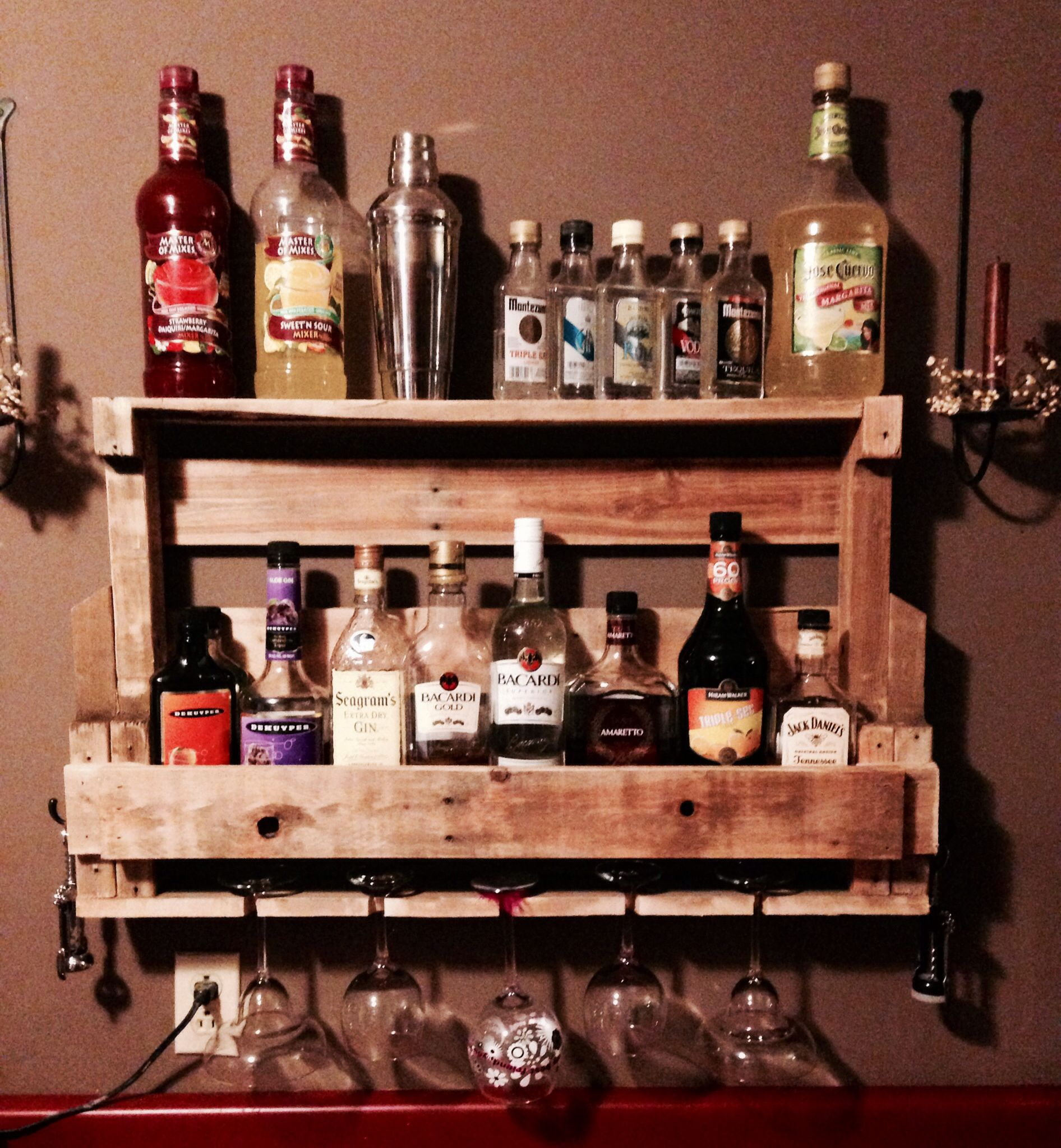 Wine Or Liquor Shelf Made From A Wood Pallet Love This