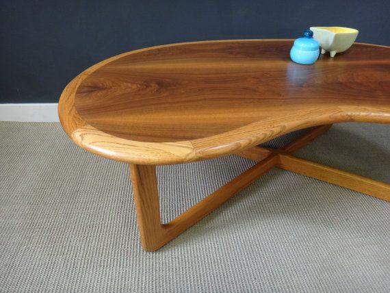 Mid Century Lane Kidney Shaped Coffee Table Coffee Table Walnut