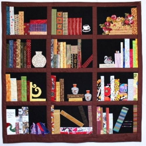 Library quilt google search bookcase quilts for Patchwork quilt book