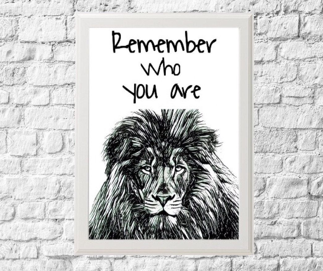 Lion Printable Art with quote of The Lion King Animals Arts di FancyCraftIT su Etsy