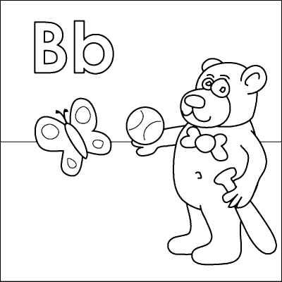 Letter b coloring page bear bat ball butterfly from http