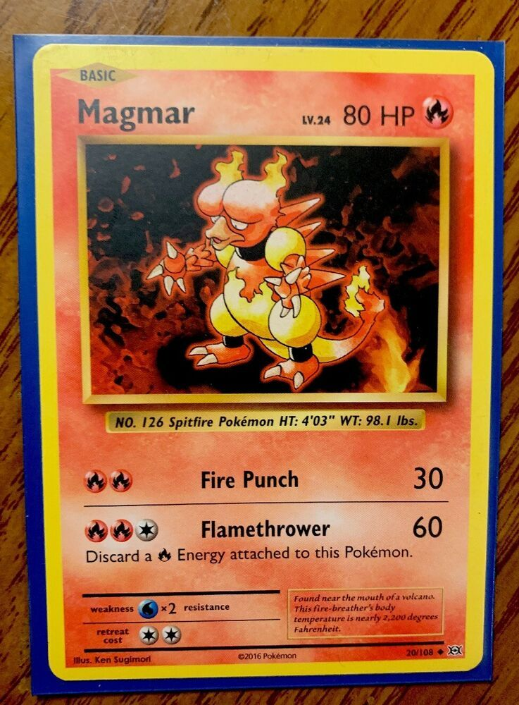 Details About Pokemon Magmar 80hp Fire Punch Flamethrower Nm