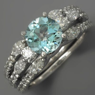 Fay Cullen Archives     RINGS   Aquamarine Wedding Set Diamonds